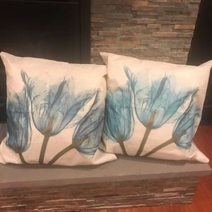 Other - Pillow Covers - Blue Flower Print- Set of Two